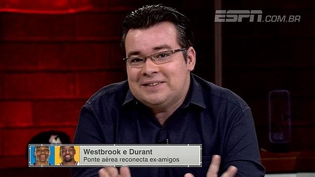 'ESPN League' avalia situação entre Durant e Westbrook e Rômulo brinca: 'Uma grande palhaçada'