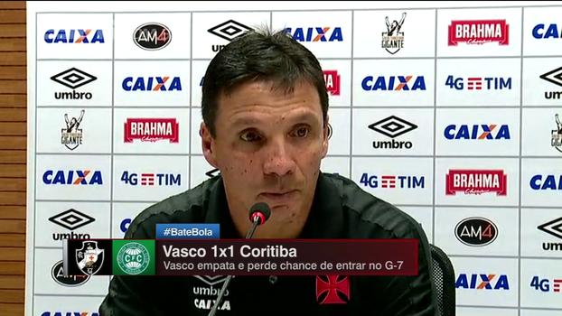 Zé Ricardo diz que Vasco jogou 'no limite' e analisa: 'Torcida tem que estar orgulhosa da gente'