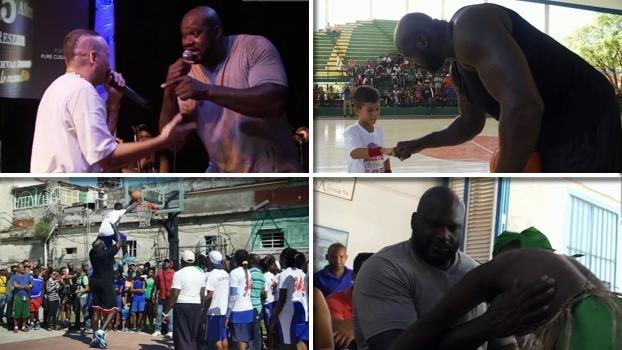 Dançando 'La Bamba' e dando toco nas crianças, Shaq se torna um embaixador em Cuba