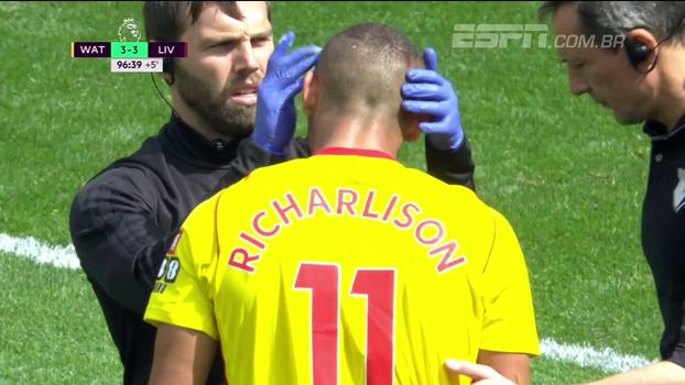 Participação no gol de empate e até corte no rosto: veja como foi a estreia de Richarlison, ex-Flu, na Premier League