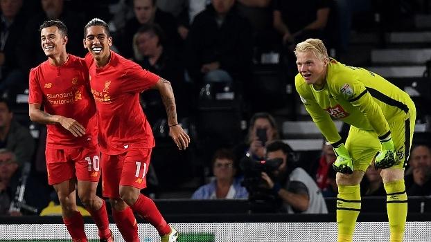 Confira os gols da vitória por 3 a 0 do Liverpool sobre o Derby County