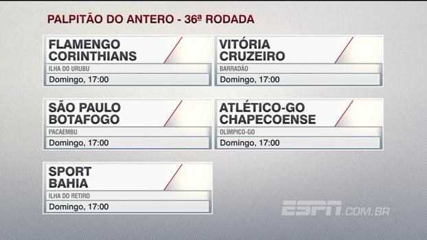 Assista ao palpitão do Antero Greco para os jogos da 36ª rodada do Brasileiro