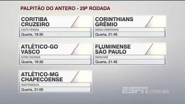 Confira o palpitão do Antero Greco para os jogos da 29ª rodada do Brasileiro