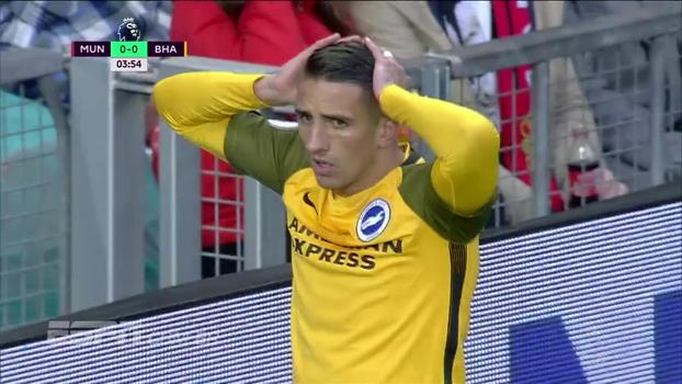Tempo real: Knockaert chuta e leva perigo ao gol de De Gea