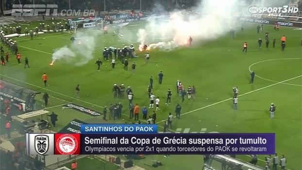 Partida é suspensa na Grécia após torcedores lançarem sinalizadores