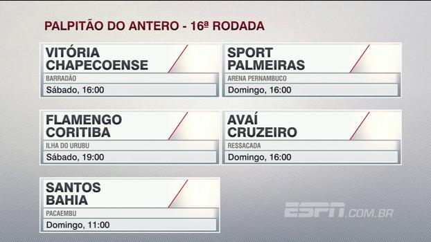 Assista ao 'palpitão' do Antero Greco para a 16ª rodada do Campeonato Brasileiro