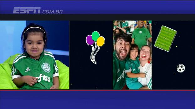Famosa por reação ao ver Allianz Parque, pequena torcedora canta hino do Palmeiras no BB Kids