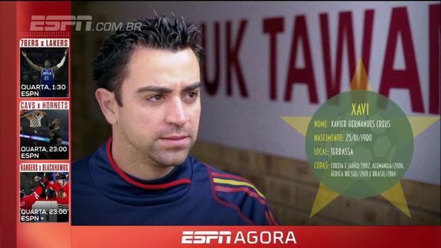 Reconhecido por seus passes perfeitos e com 4 Copas no currículo, Xavi é uma das Estrelas dos Mundiais