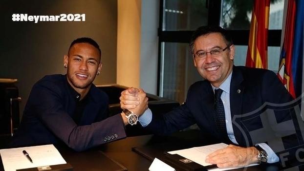 Veja as imagens de Neymar renovando contrato com o Barcelona até 2021
