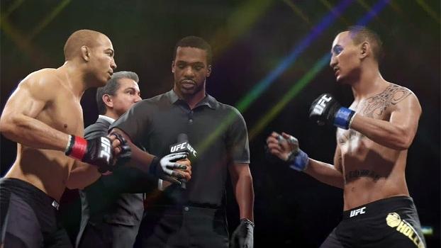 Simulação no game leva duelo entre Aldo e Holloway até o 5º round e tem desfecho emocionante; veja
