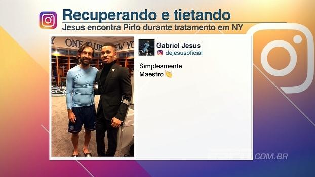 Gabriel Jesus encontra Pirlo durante tratamento em NY
