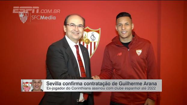Sevilla confirma contratação de Guilherme Arana; veja as imagens da assinatura do contrato