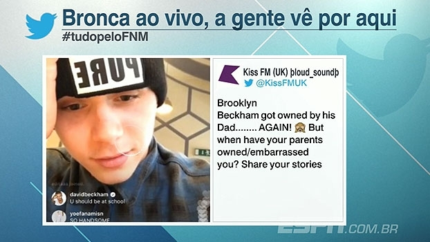 Filho de Bechkam faz live no twitter e é pego no flagra pelo pai: 'Você devia estar na escola'