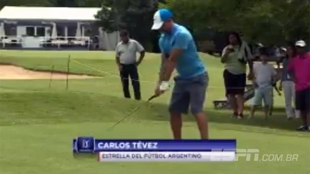 Tevez troca campo de futebol pelo de golfe em evento de divulgação de torneio argentino