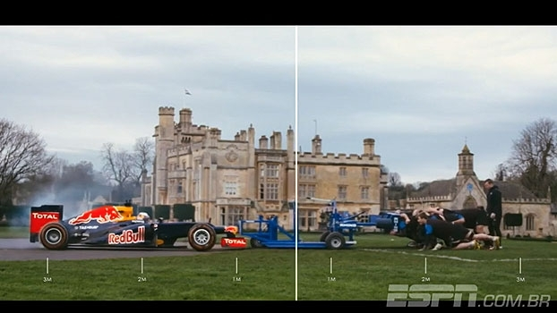 Carro de F1 x Jogadores de rugby: Quem levou a melhor no desafio?