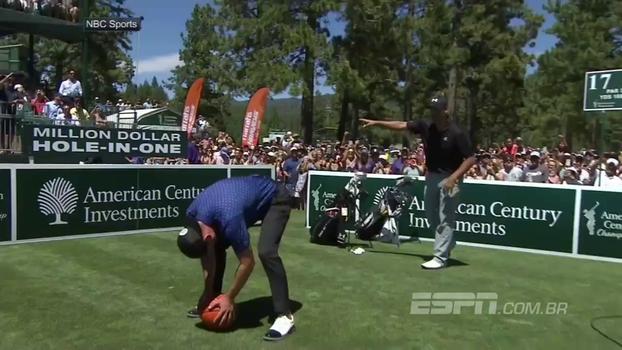 Ponte aérea NFL-NBA: Com ajuda de Timberlake, Romo lança para Curry enterrar em evento de celebridades