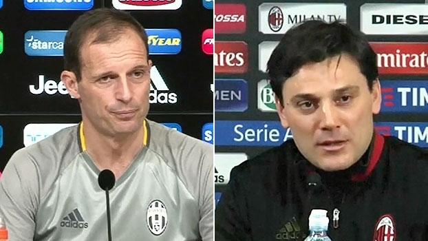 Juve e Milan se preparam para duelo na semi e Montella elogia rivais: 'Quase imbatíveis'