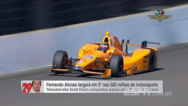 Fernando Alonso faz bom tempo e estreará na 5ª posição nas 500 milhas de Indianápolis