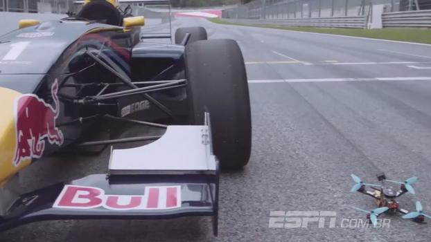 Chegou perto? Veja o resultado quando um drone desafia a velocidade de um carro de Fórmula 1
