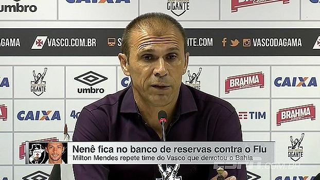 Milton Mendes confirma time do Vasco; Nenê segue no banco de reservas