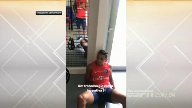 Neymar registra treino de Thiago Silva e Marquinhos e brinca: 'Um trabalha e o outro incentiva'