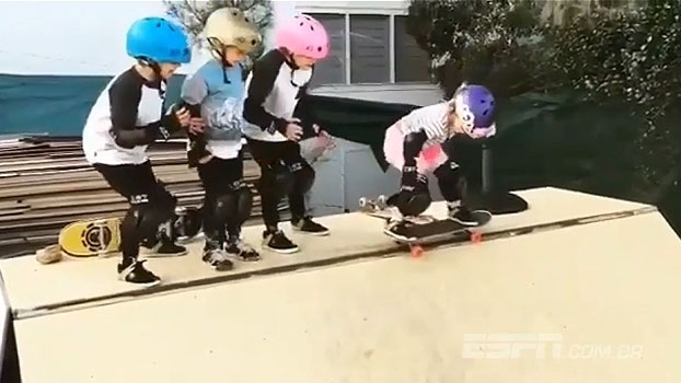 Incentivada por amigos, garotinha faz 'manobra radical' de skate e ganha as redes sociais