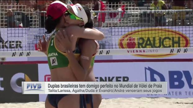Duplas brasileiras têm domingo perfeito no Mundial de Vôlei de Praia; veja