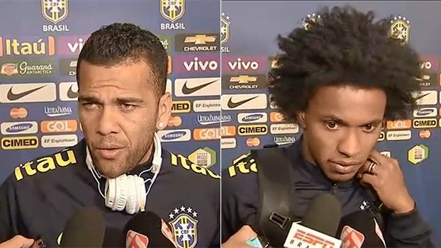 Daniel Alves e Willian falam sobre pressão de jogar pela seleção brasileira