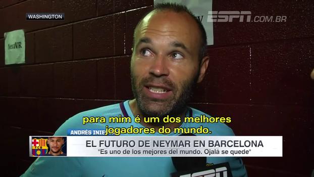 Iniesta diz que Neymar é um dos melhores do mundo e comenta novela: 'Tomara que fique'
