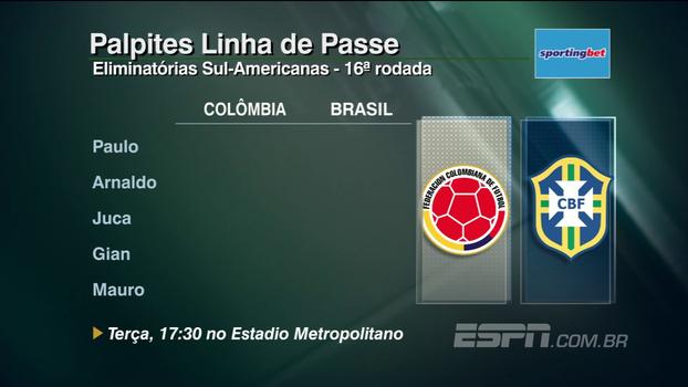 Confira os palpites do 'Linha de Passe' para Colômbia x Brasil