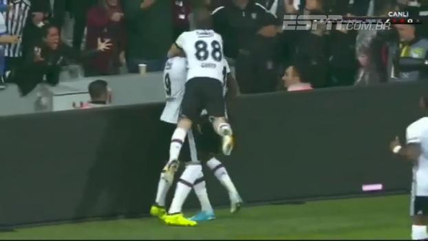 Tabelou e deu 'tapa' matador: veja o belo gol feito por Talisca no empate entre Besiktas e Trabzonspor