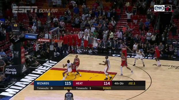 Novato faz nos últimos segundos e Heat vence os Wizards em Miami