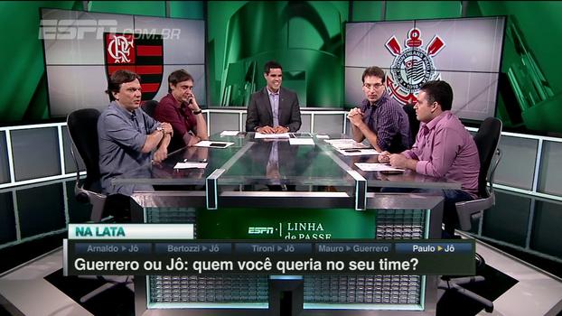 Guerrero ou Jô: quem você gostaria de ter no seu time? Veja os comentários do 'Linha de Passe'