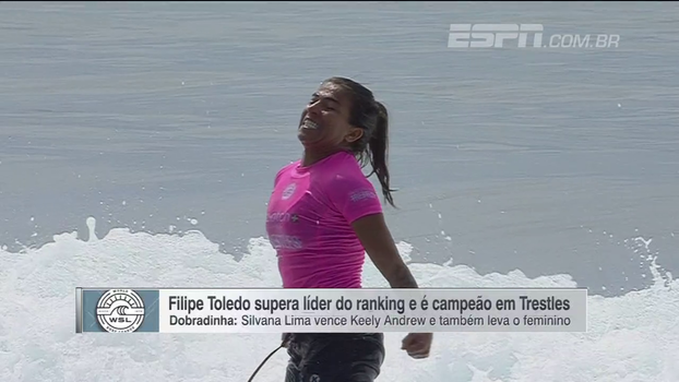 Dobradinha brasileira no Mundial de Surfe! Filipe Toledo e Silvana Lima são campeões em Trestles