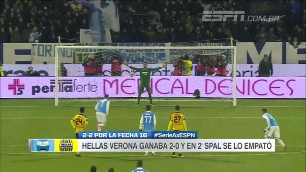 Em 2º tempo frenético, Hellas Verona abre 2 a 0, mas sofre empate do SPAL com gols aos 40 e aos 41