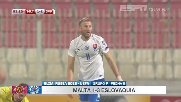 Eslováquia vence Malta e assume vice-liderança do Grupo F das Eliminatórias