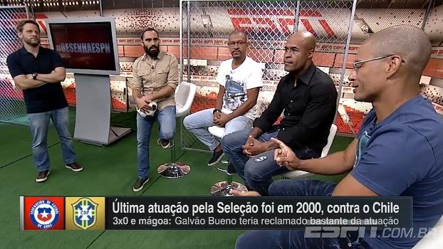 Alex, Djalminha e M. Assunção lembram lavada que levaram para o Chile, em 2000, pelas Eliminatórias