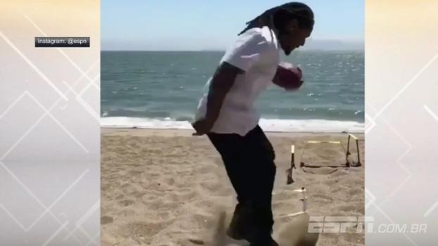 Tá bom ou não? Lynch posta vídeo de trabalho de pernas na praia